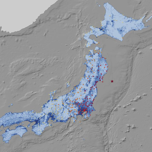 Tokohu Earthquake Intensity Map