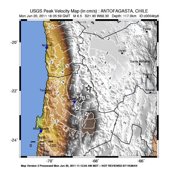 Shake Map - Peak Velocity