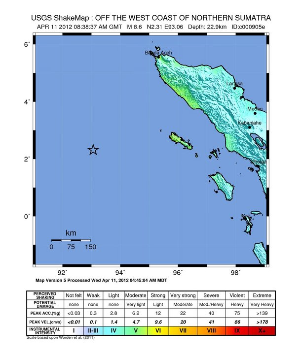 Magnitude 8 6 Off Coast Of Sumatra 11-Apr-12 (c000905e) | Quake Watch